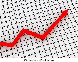 Growth Chart. red arrow on the checkered background. High quality 3d render.