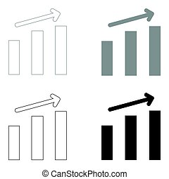 Growth chart the black and grey color set icon .