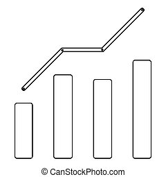 Growth chart the black color icon .