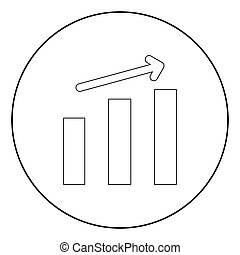Growth chart the black color icon in circle or round