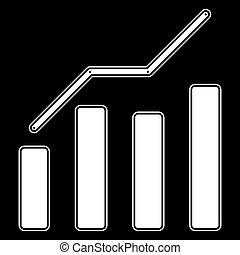 Growth chart the white color icon .