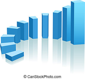 A growth chart of upward progress as an arc of blue bars.