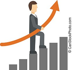 Growth chart vector illustration.
