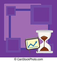Growth Chart with Arrow Going Upward inside Projector Screen. Hourglass with Sand Sliding down the Lower Half Part. Blank Space and Creative Background Idea for Financial Matters.