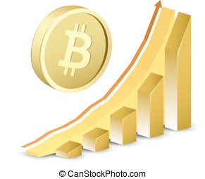 Growth chart with bitcoin sign