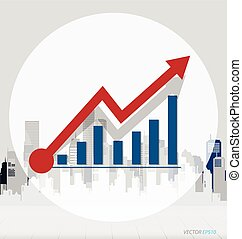 Growth chart with building background. Vector illustration.