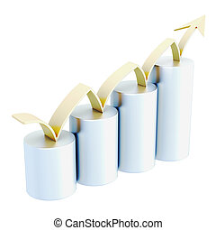 Growth chart with golden arrow isolated on white background. 3d rendering