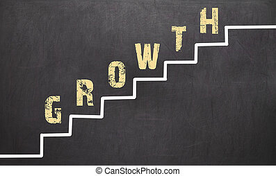 Growth Concept on black chalkboard with the hand