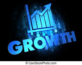 Growth Concept on Dark Digital Background.