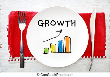 Growth concept on white plate with fork and knife