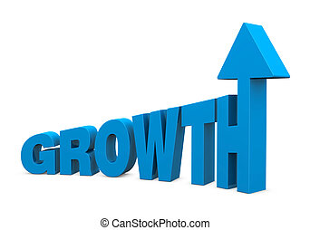 the word GROWTH with increasing size letters and an arrow on top of the last letter (3d render)