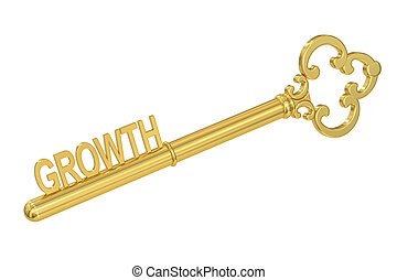 Growth concept with golden key, 3D rendering