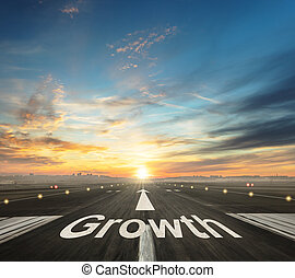 Growth creative concept with airport runway and up arrow. ...