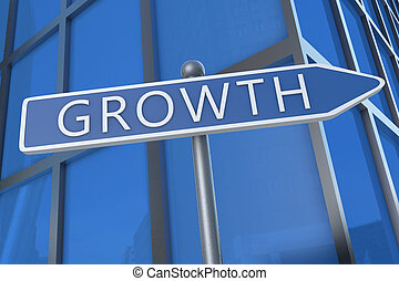 Growth - illustration with street sign in front of office...