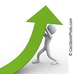Growth Efforts - 3d man pushing green arrow up