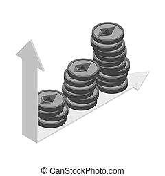 Growth etherium graph. Growth of  Cryptocurrency. Virtual money. Vector illustration