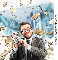 Growth exponential gain - Financial businessman astonished ...