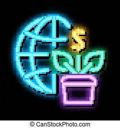 growth financial plant and sphere neon glow icon illustration