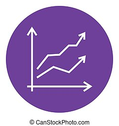 Growth graph line icon.