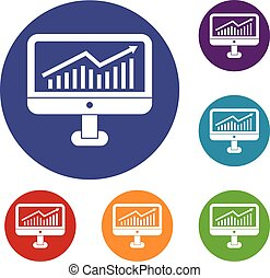 Growth graph on the computer monitor icons set