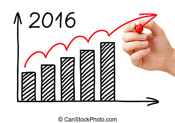 Growth Graph Year 2016 Concept - Hand drawing Growth Graph...