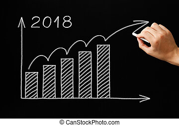 Growth Graph Year 2018 Blackboard Concept - Hand drawing...