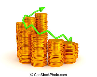 Growth: green graph over golden coins stacks