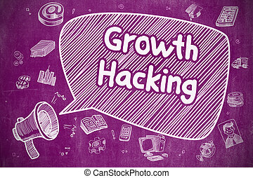 Growth Hacking - Cartoon Illustration on Purple Chalkboard.