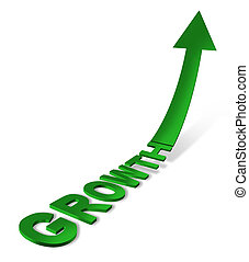Growth icon with a three dimensional text and arrow pointing up into the future as a prediction or forecast and showing a business and financial concept of success and achievement on a white background.
