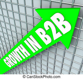 Growht in B2B words on green arrow rising to illustrate increasing sales to other businesses or companies
