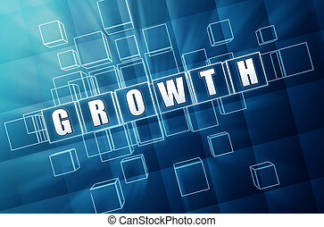 growth in blue glass cubes