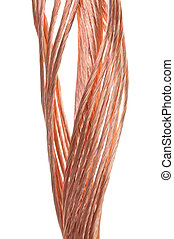 Growth in industrial raw materials, copper wire on white...