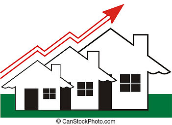 Growth in Real Estate shown on white Background