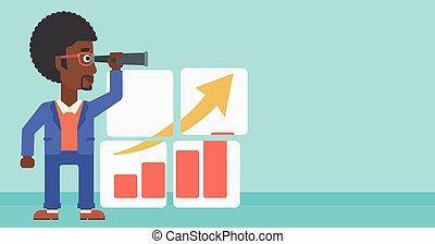 growth., kansen, grondig, zakenmens