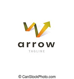 Growth logo with arrow up for success business identity isolated on white background. Modern company symbol.