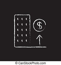 Growth of real estate market icon drawn in chalk. - Growth...