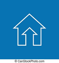 Growth of real estate market line icon. - Growth of real...