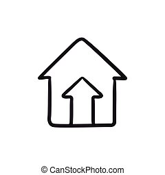 Growth of real estate market sketch icon. - Growth of real...