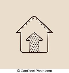 Growth of real estate market sketch icon.