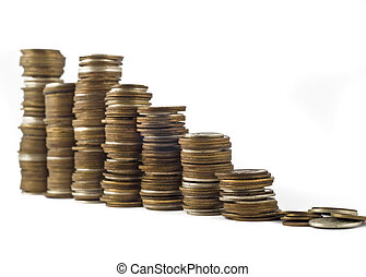 Growth or economic crisis - towers assembled of coins...