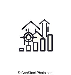 Growth plan linear icon concept. Growth plan line vector sign, symbol, illustration.