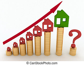 Diagram of growth in real estate prices. 3d illustration on white background.