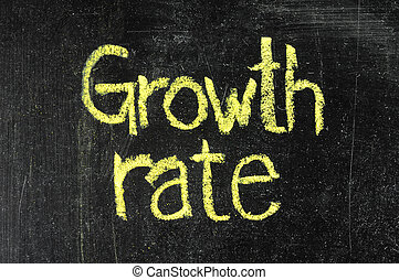 GROWTH RATE handwritten with white chalk on a blackboard