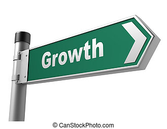 growth road sign 3d illustration
