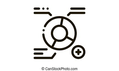 Growth Round Infographic Icon Animation. black Statistician Analytics Diagram And Text, Plus Mark animated icon on white background