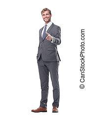 growth., segurando mão, cheio, homem negócios, handshake., seu, sorrindo, saída