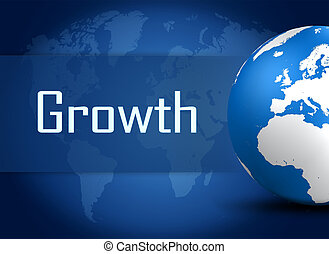 Growth concept with globe on blue background