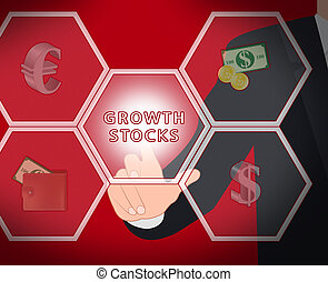 Growth Stocks Displays Rising Shares 3d Illustration