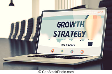 Growth Strategy - on Laptop Screen. Closeup. 3D.