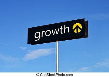 """Growth"" street sign - Street sign with upward arrow reading..."
